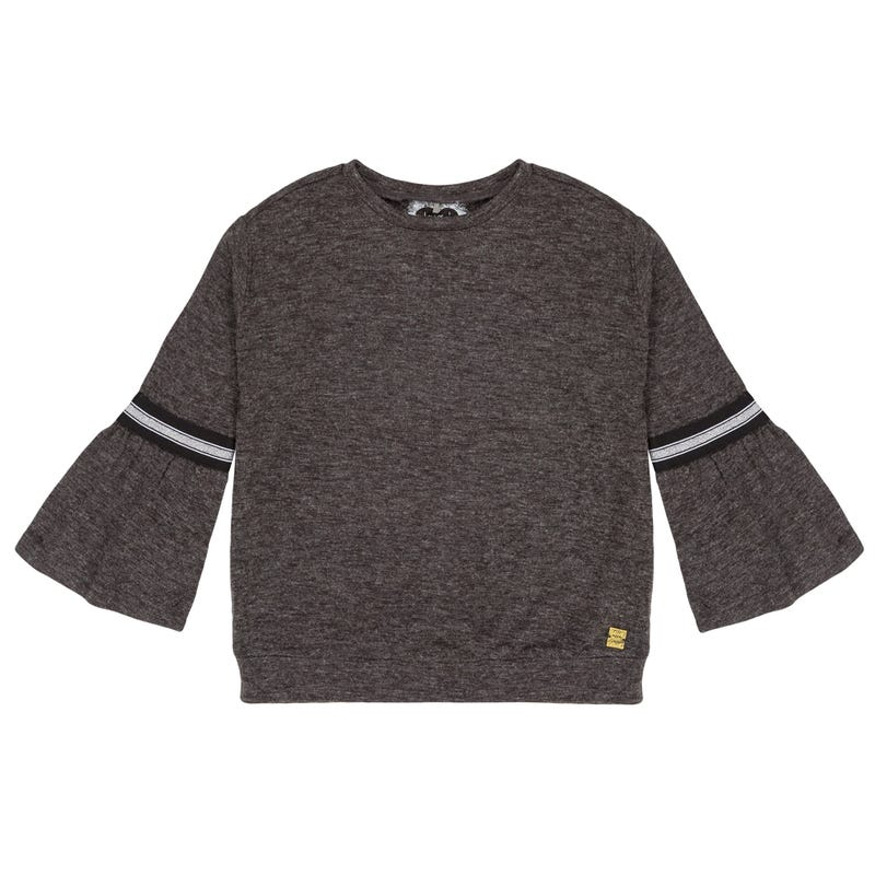 Black In The Brushed Jesey Top 7-10y - Black Mix