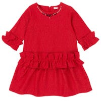 Night Queen Tweed Style Dress 7-10y -Red