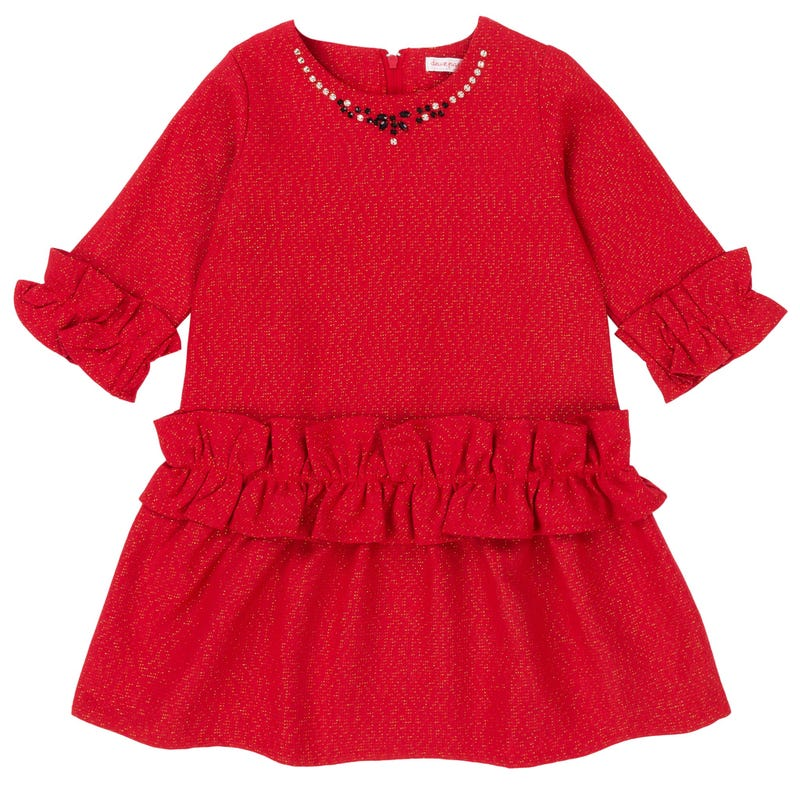 Night Queen Tweed Style Dress 7-10y -Red