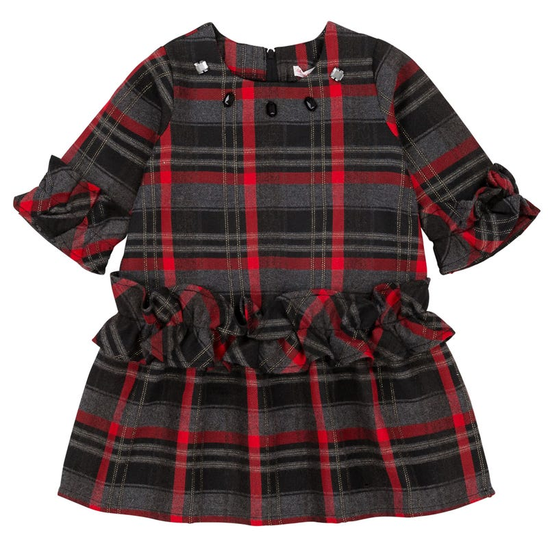 Night Queen Tartan Dress 3-6y - Black/Red
