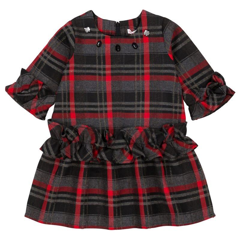 Night Queen Tartan Dres 7-10y -Black/Red