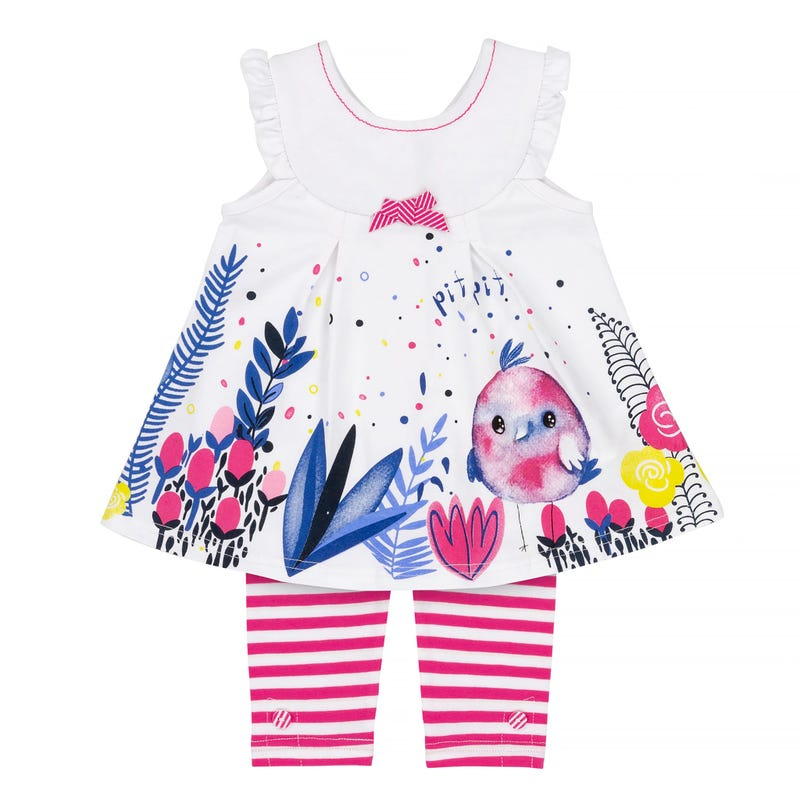 Flower Printed Tunic Striped Capri Leggings set 12-24m