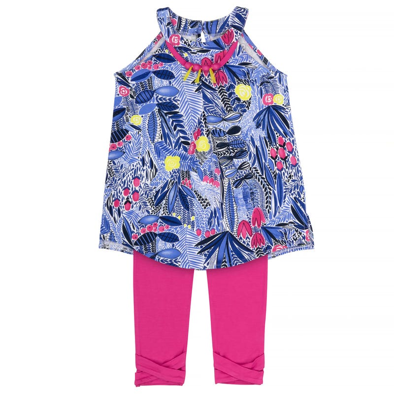 Flower Tunic Printed Capri Leggings Set 3-6y