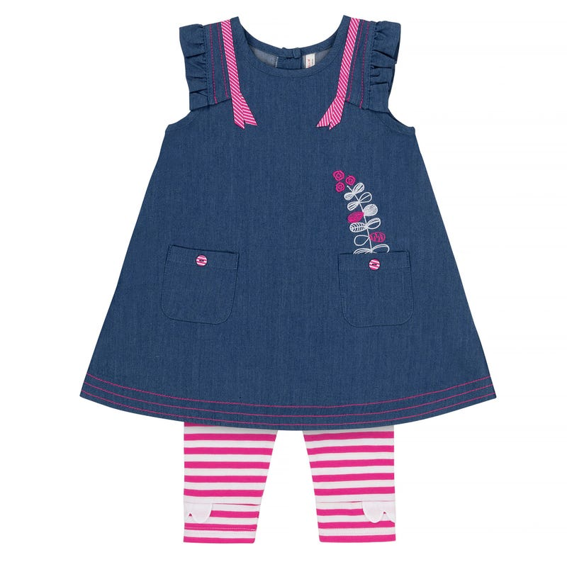 Flower Dress and Striped Leggings Set 12-24m