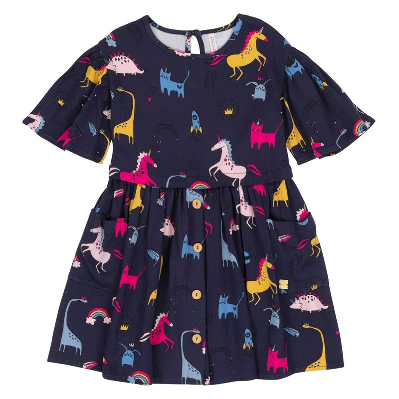 Unicorn Dinosaurs Dress 3-6y