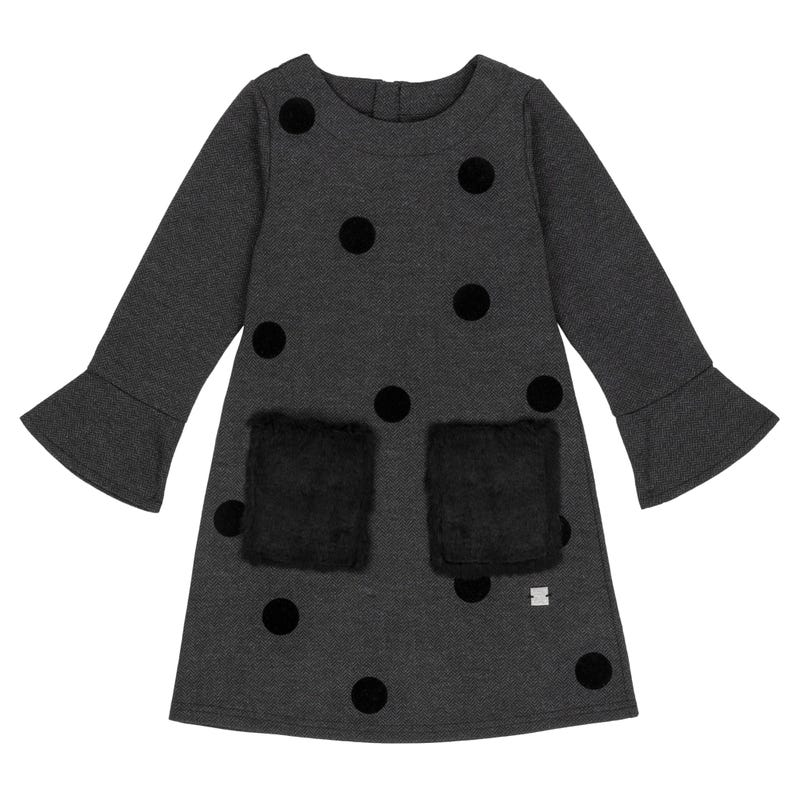 Pompom Herringbone Dress 7-10y