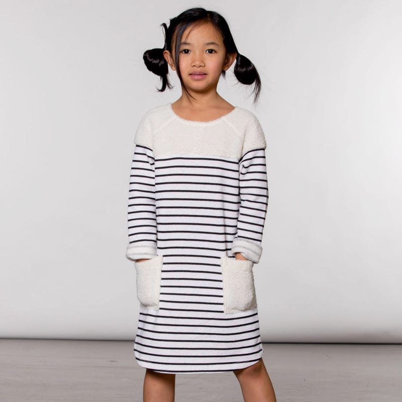 Birds Striped Dress 3-6y