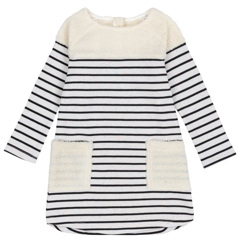 Birds Striped Dress 7-10y