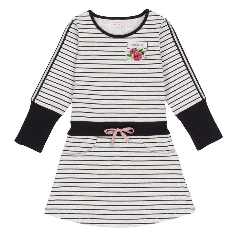 Dino Striped Dress 7-10y