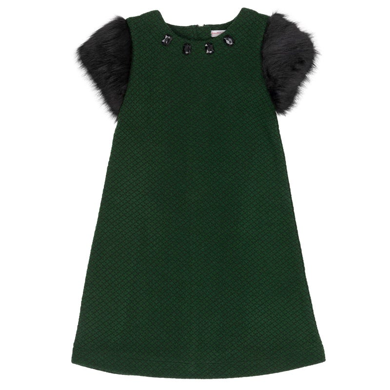 Chic Dress with Fur Sleeves 3-6y