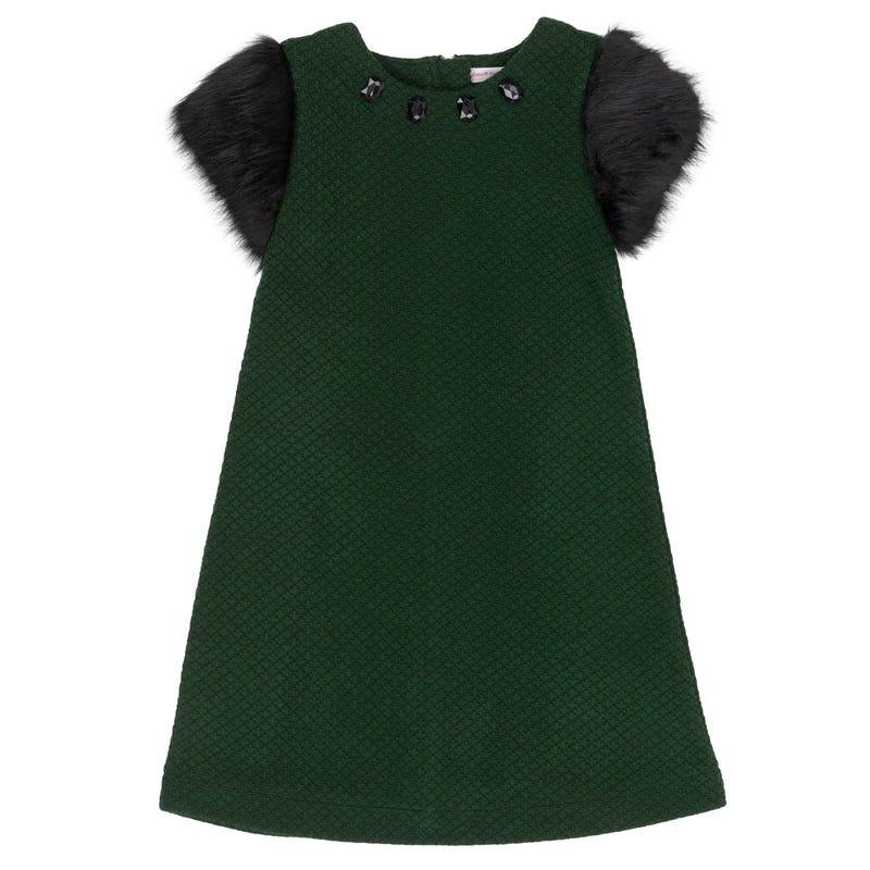 Chic Fur Sleeves Dress 7-10y