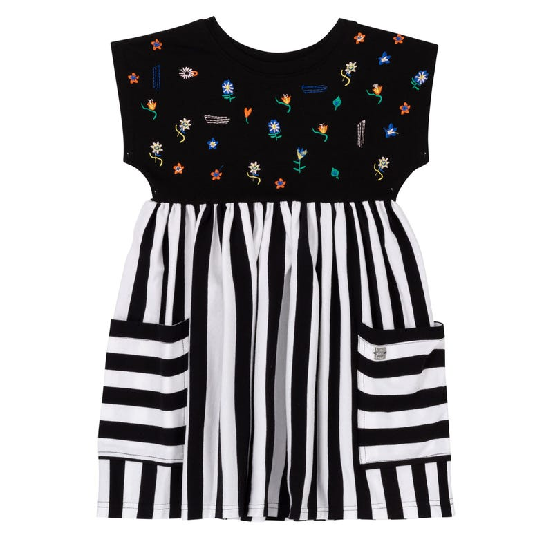 Flower Striped Pocket Dress3-6