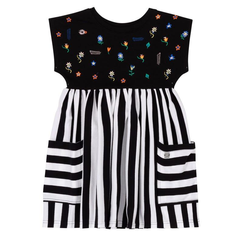 Flower Striped Pocket Dress710