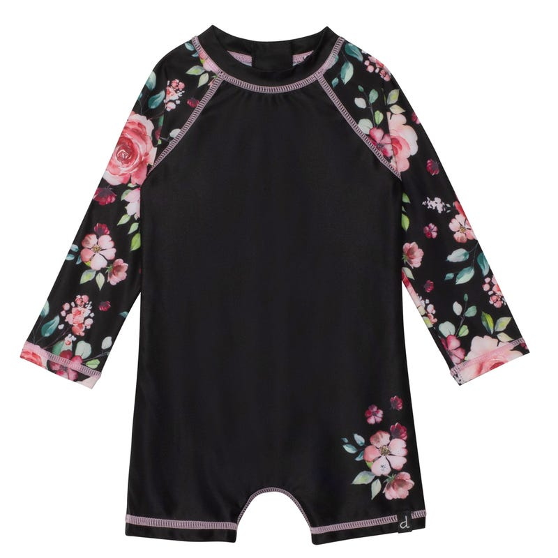 Flowers UV Rashguard 1 Piece Swimsuit