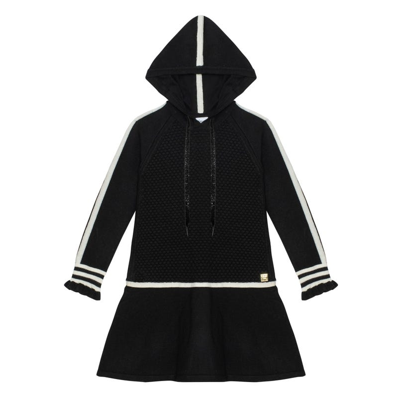 Chic Hooded Knit Dress 7-10y