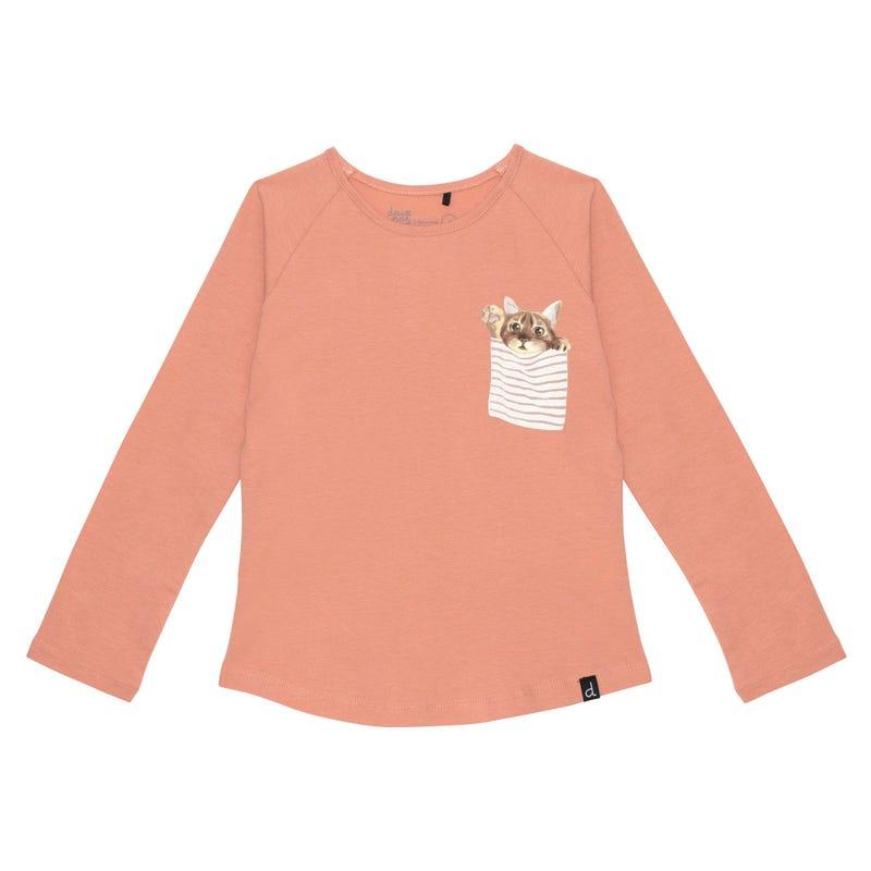 Cat Pocket T-shirt 7-10y