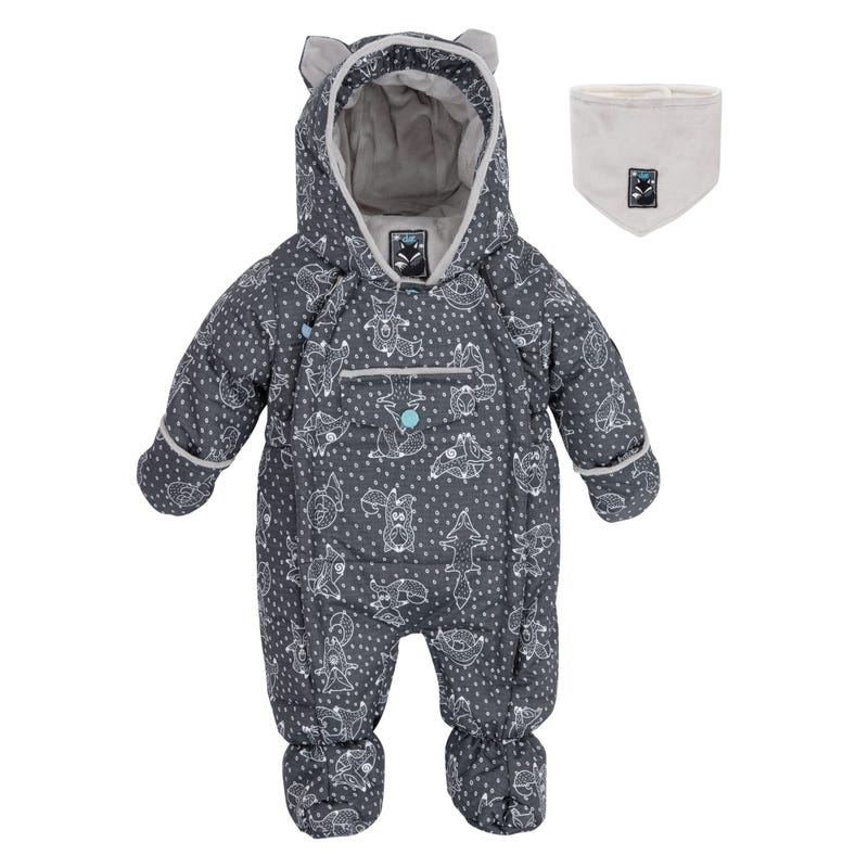 Grey Yoga Print Snowsuit 3-18m