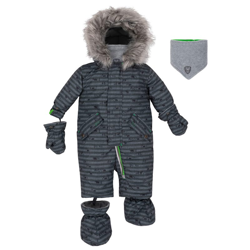 Grey Wood Snowsuit 12-30m