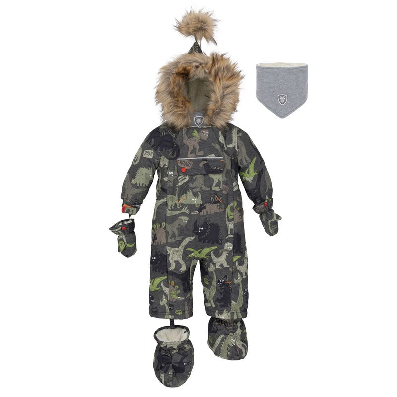 Olive Dino Snowsuit 3-18m