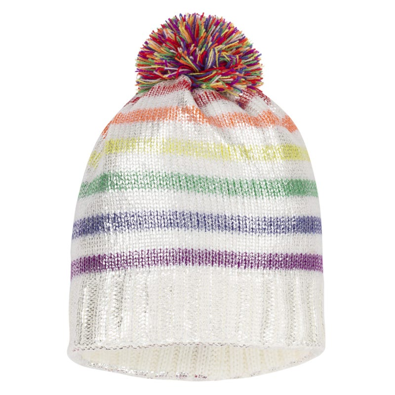 Rainbow Pompom Beanie 3-14