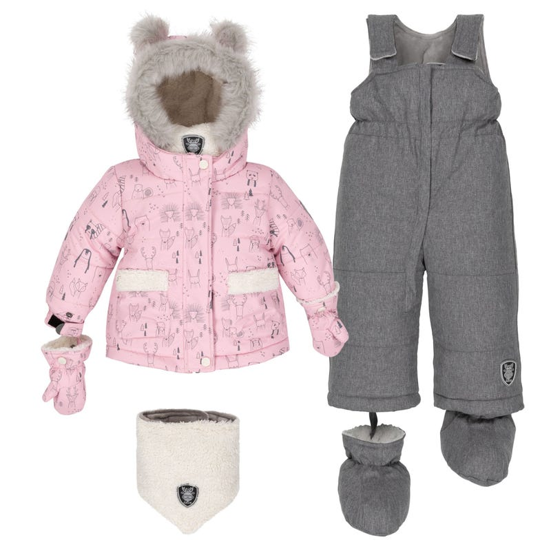 Pink Teddybear Snowsuit 18-30m