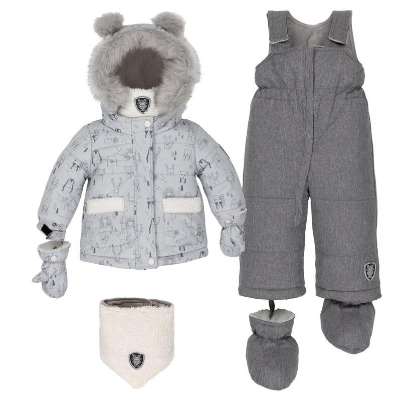 Grey Printed Teddybear Snowsuit 18-30m