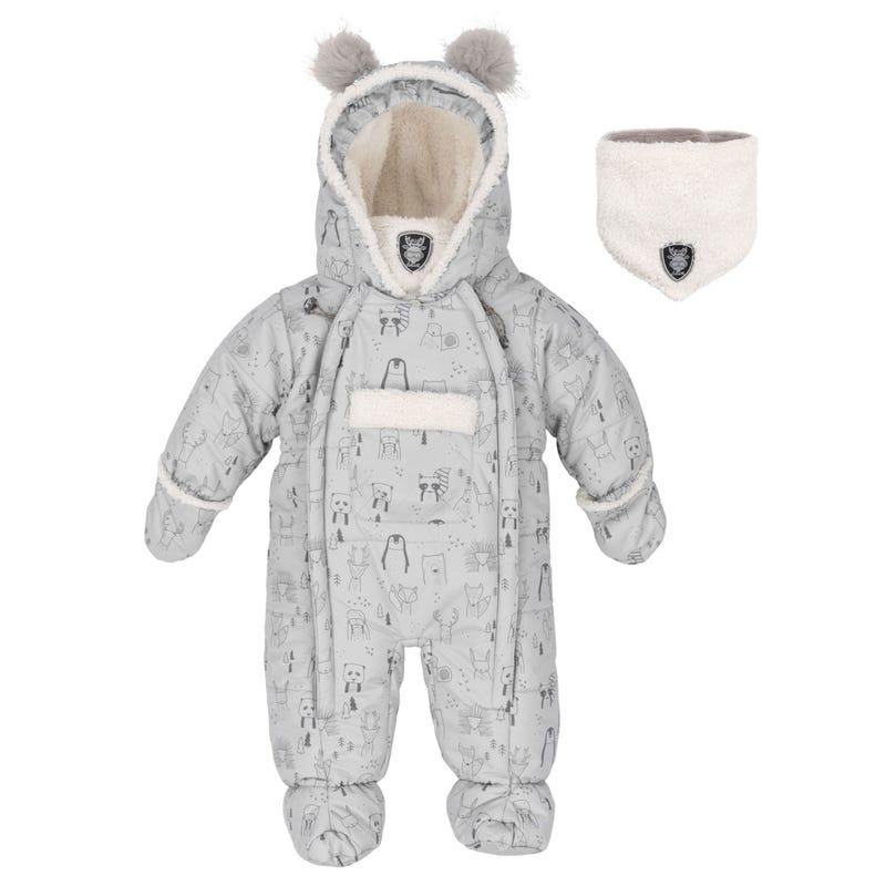 Grey Teddybear Printed Snowsuit 3-18m