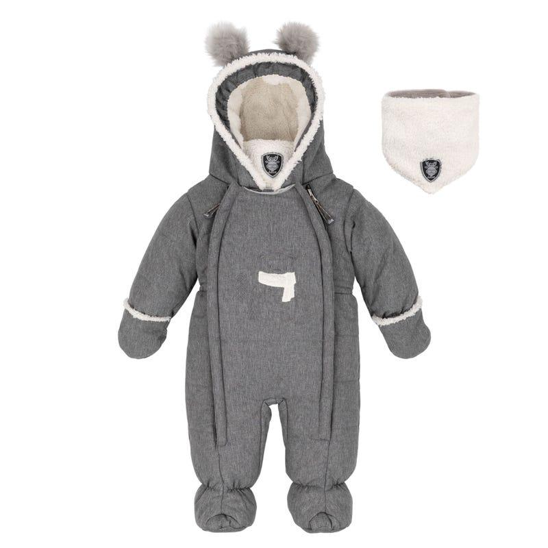 Solid Grey Teddybear One Piece Snowsuit