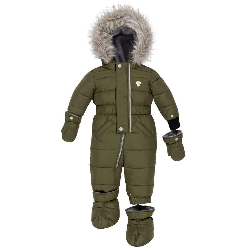 Olive Puffy Snowsuit 12-30m