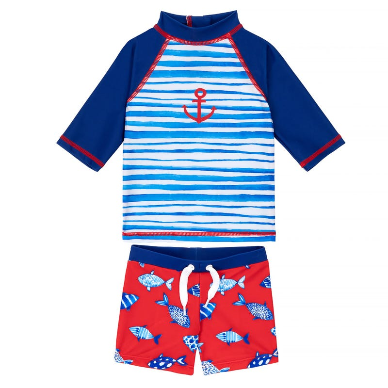 Fish Rashguard and Swim Shorts 3-24m