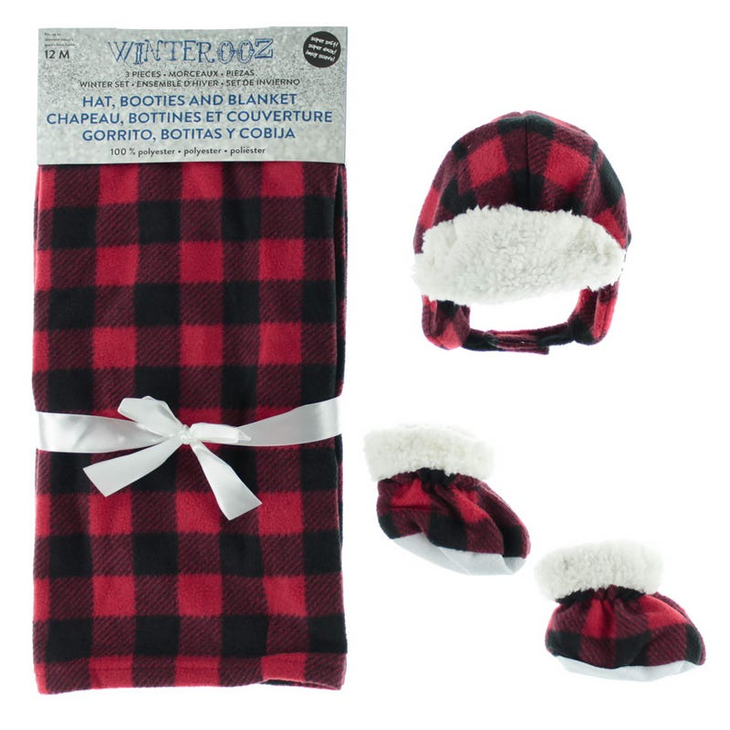 Blanket Hat Slipper Red Plaid