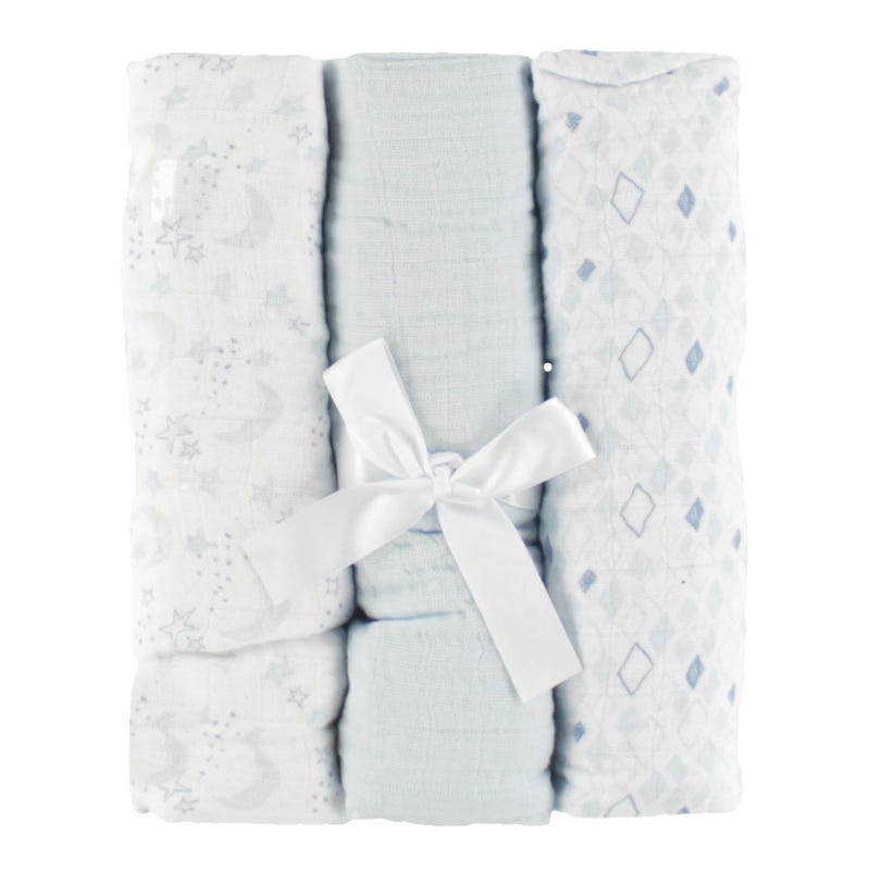 Couverture en Mousseline Paquet de 3 - Bleu