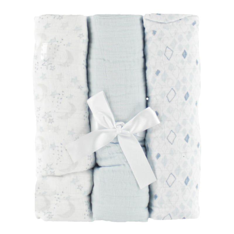 Muslin Blankets Setof 3- Blue