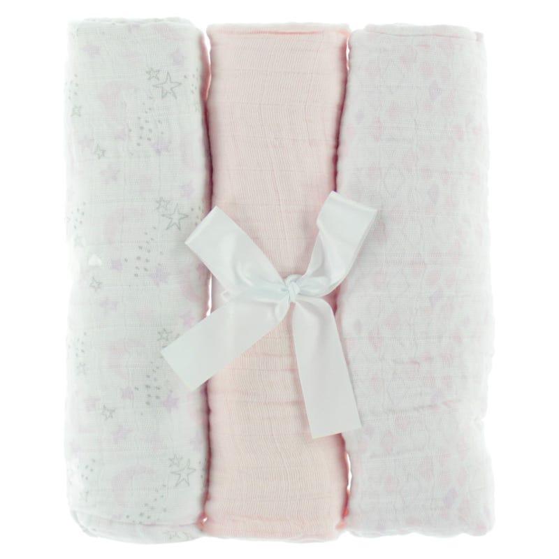 Muslin Blankets Setof 3- Pink