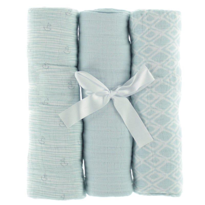 Couvertures(3) mousseline bleu
