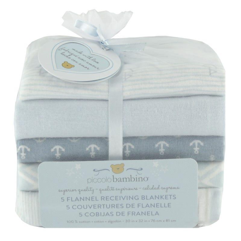 Flannel Blankets Set of 5 - Blue