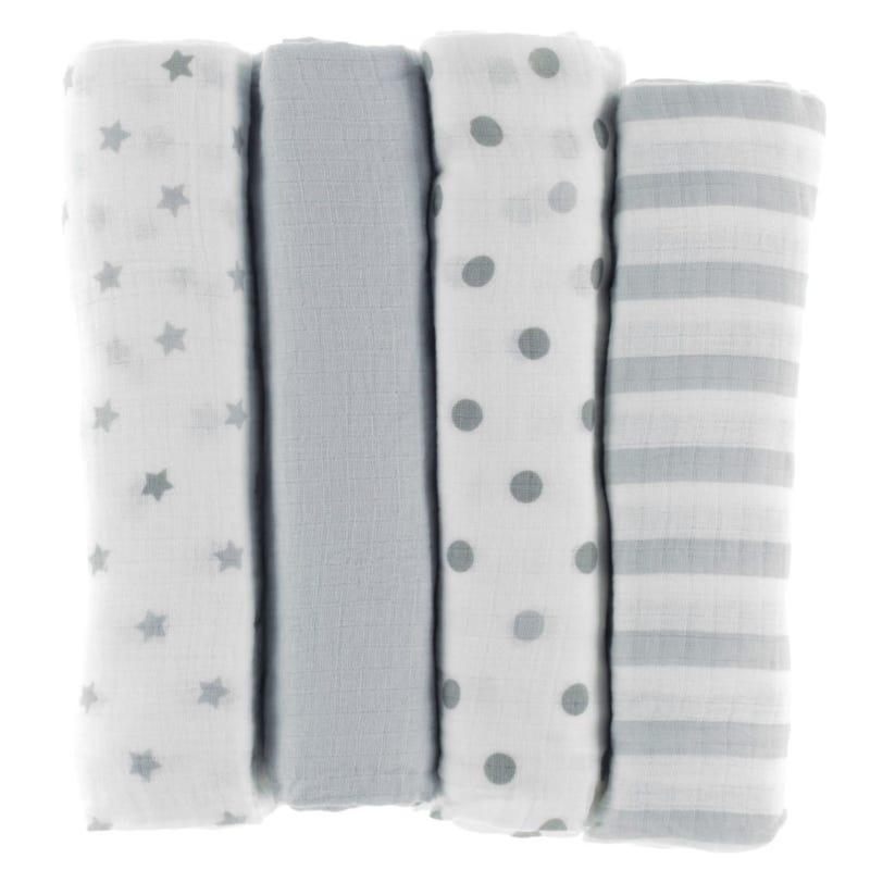 Couvertures mousseline Gris - Paquet de 4