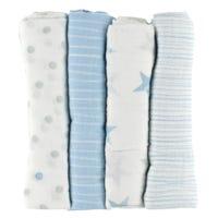 Couvertures mousselines Bleu - Paquet de 4