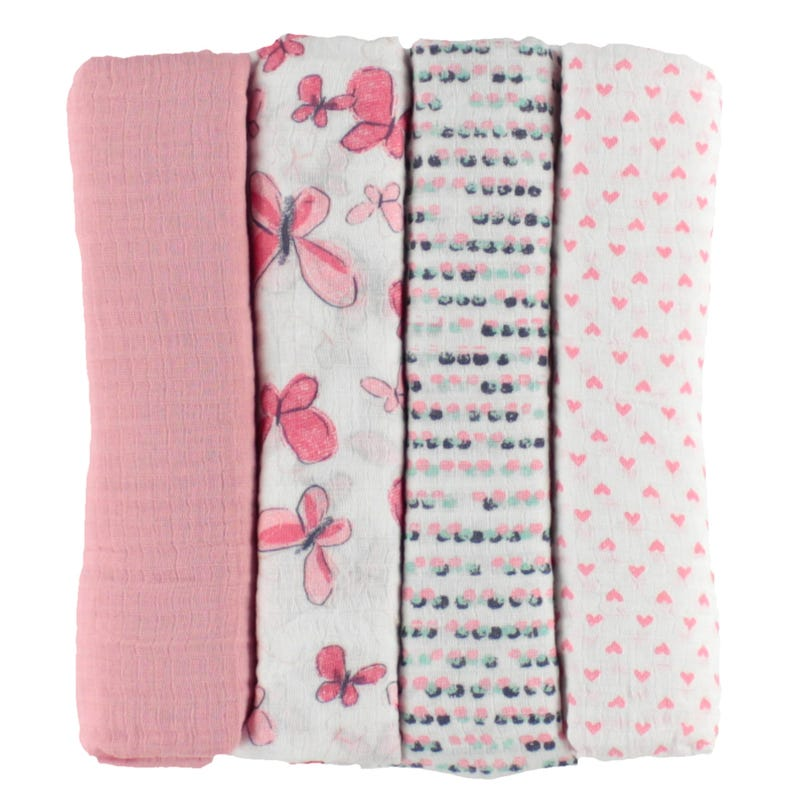 Couverture Mousseline Paquet de 4 - Rose