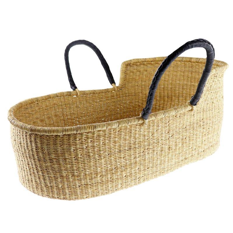 Wicker Bassinet Basket with Black Handle