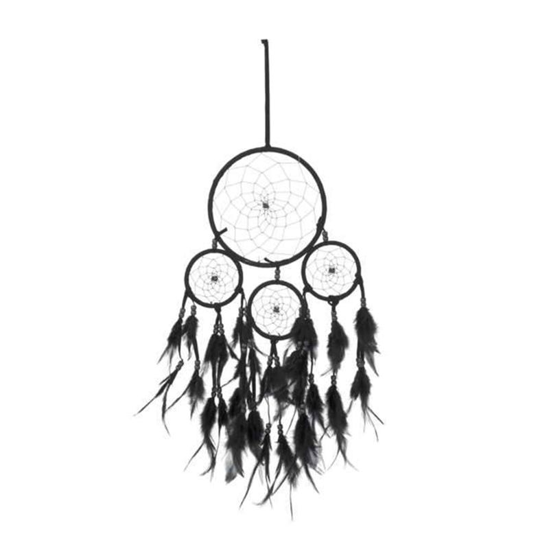 Dreamcatcher With Feathers - Black