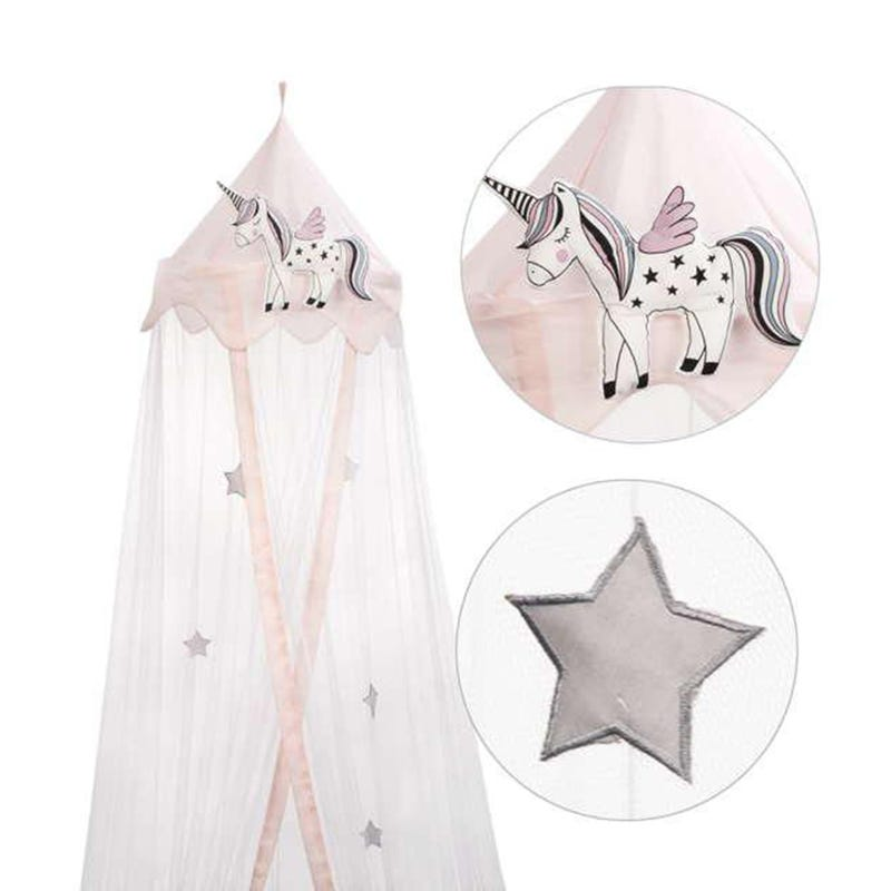 Unicorn Bed Canopy - White/Pink