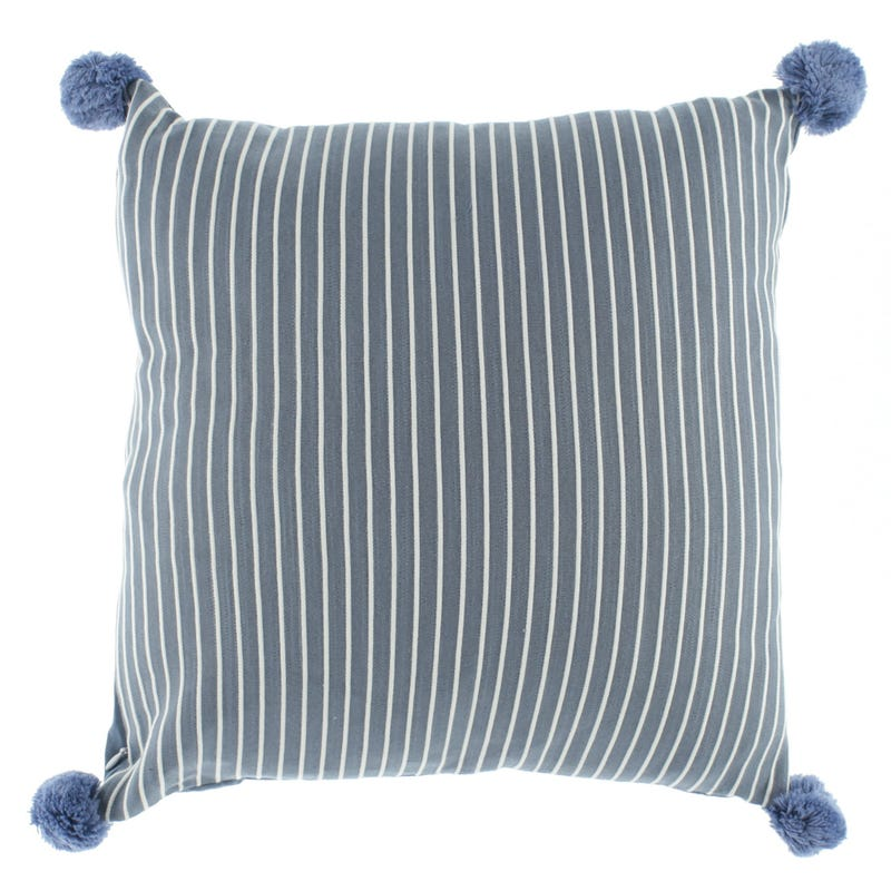 Striped Cushion Pompons - Navy