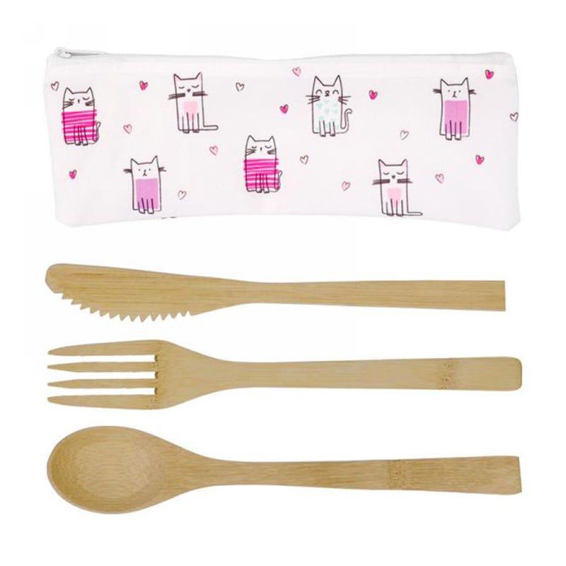 Bamboo Utensil(3) +Cat Bag Pin