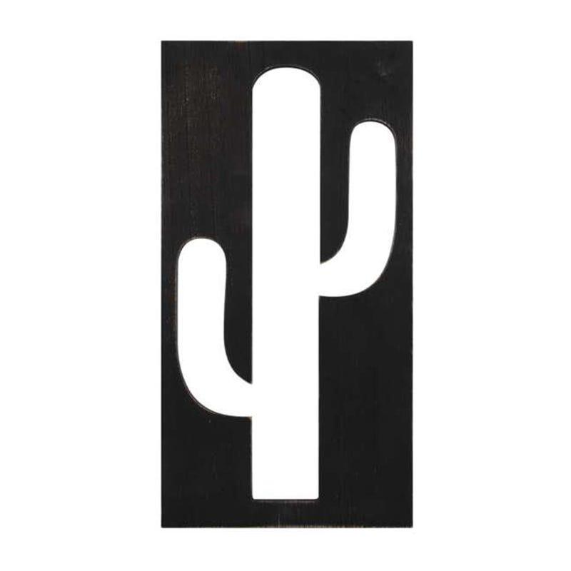 Cutout Cactus Wall Plaque - Black