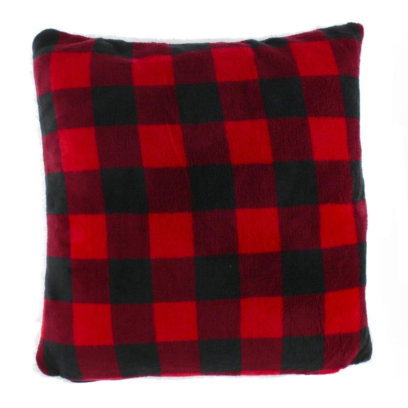 Buffalo Plaid Cushion -White