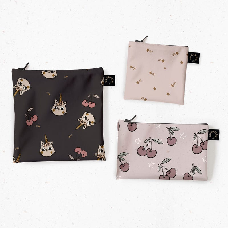 Snack Bags 3-Pack - Cats Unicorns