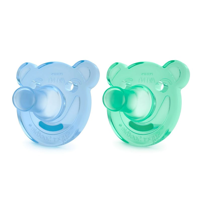 Soothie Pacifiers 0-3m Set of 2 - Blue Bear