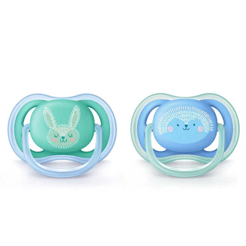 Animal 6-18m Ultra Pacifier 2-Pack - Blue