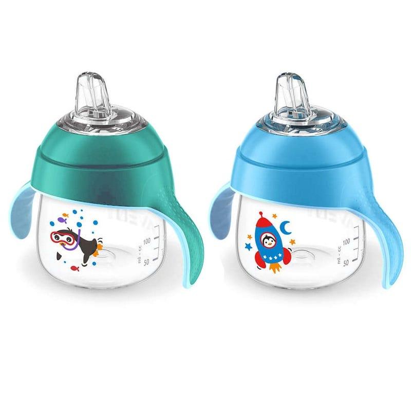My Penguin Sippy Cup Set of 2 7oz - Aqua/Blue